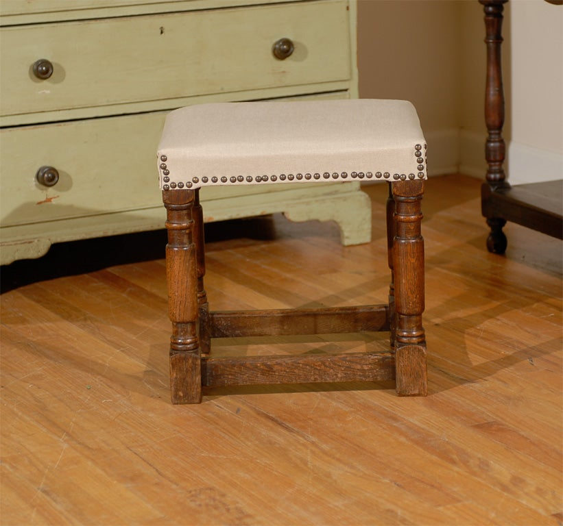 Turn Of The Century English Joint Stool With Upholstered