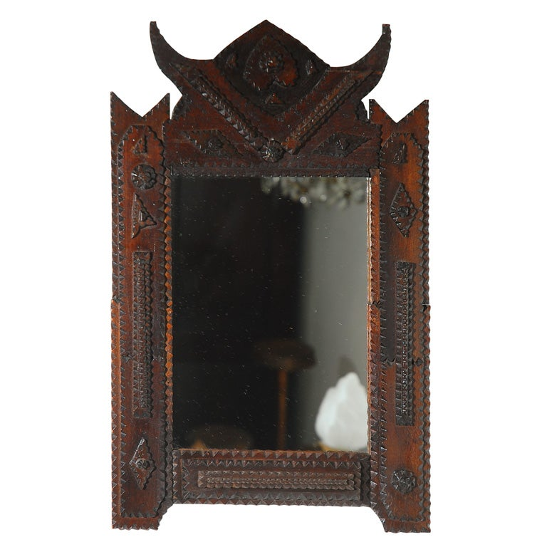 tramp art folk art frame with mirror 1