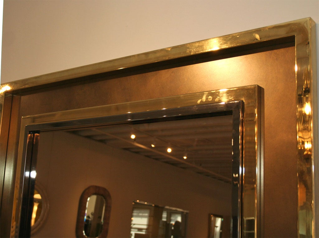 A large square chrome and brass mirror frame and mirror for Big square mirror