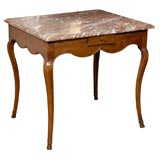 19th Century French Marble Top Table Louis XV in Walnut Parisian