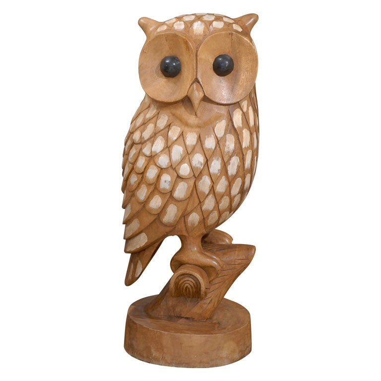 Large Carved Wood Owl At 1stdibs