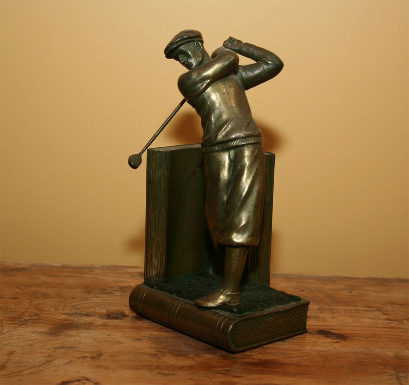 Pair of Bookends Golfers For Sale 4