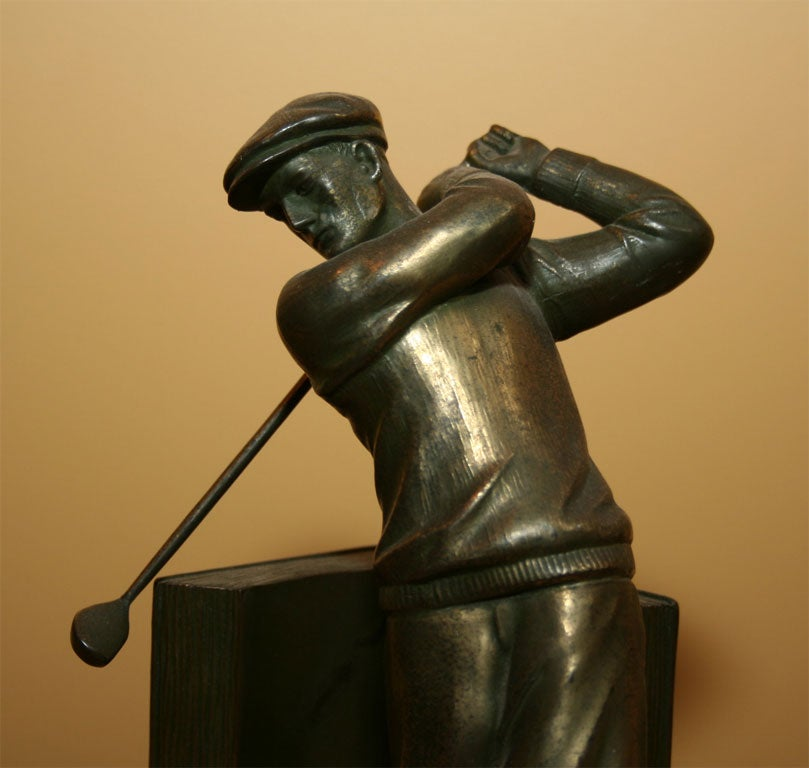 Pair of Bookends Golfers For Sale 5
