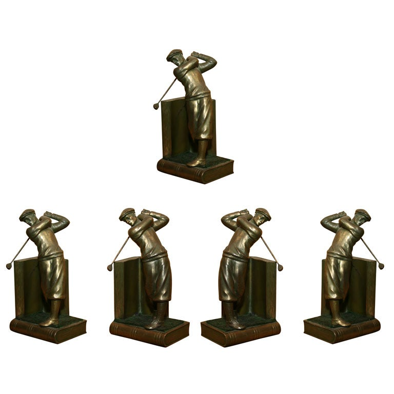 Pair of Bookends Golfers For Sale