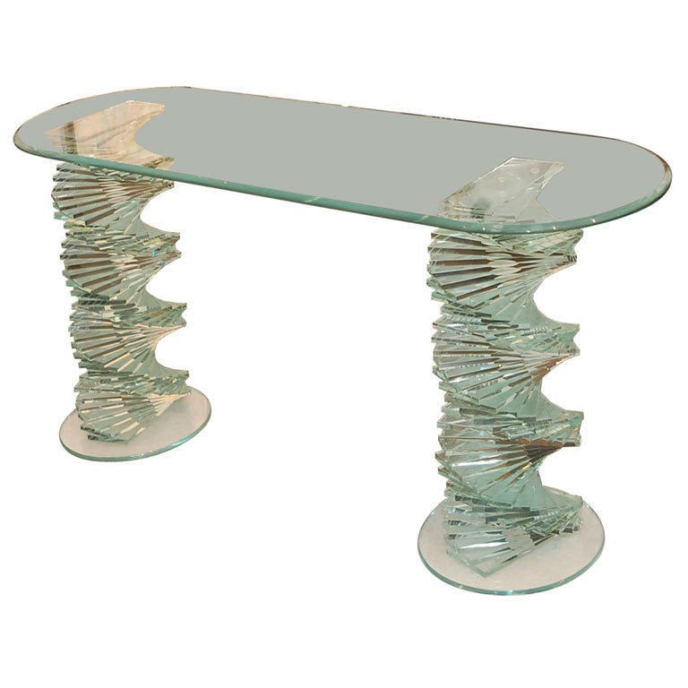 Sculptural Italian Crystal Glass Spiral Console Table At