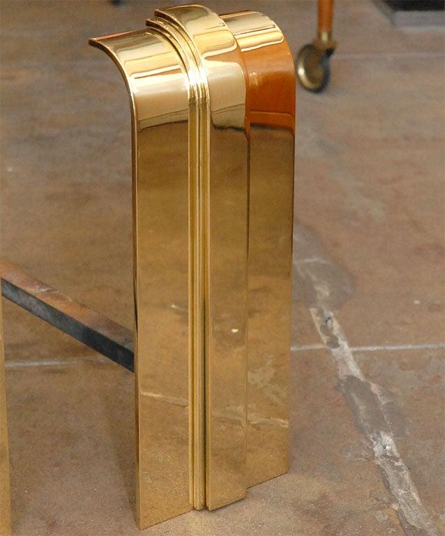 American Pair of Karl Springer Brass Andirons