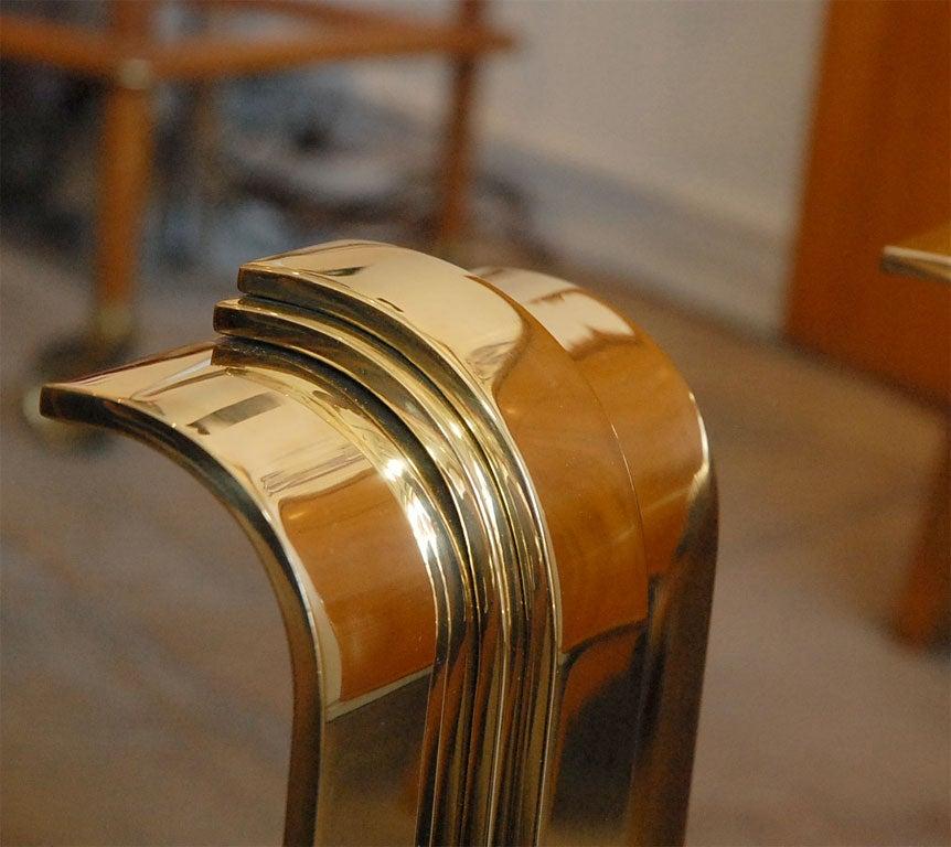Pair of Karl Springer Brass Andirons 2