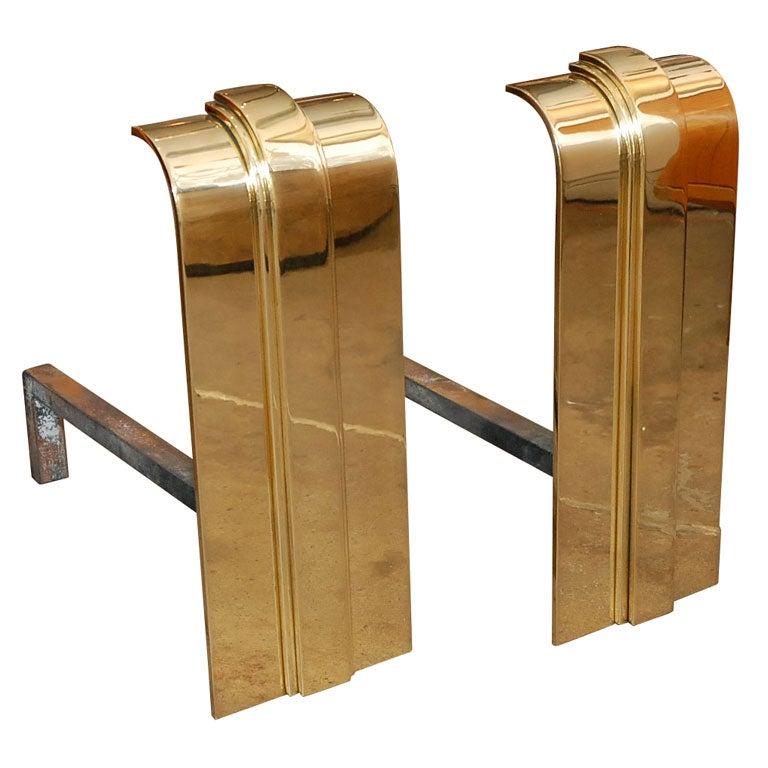 Pair of Karl Springer Brass Andirons