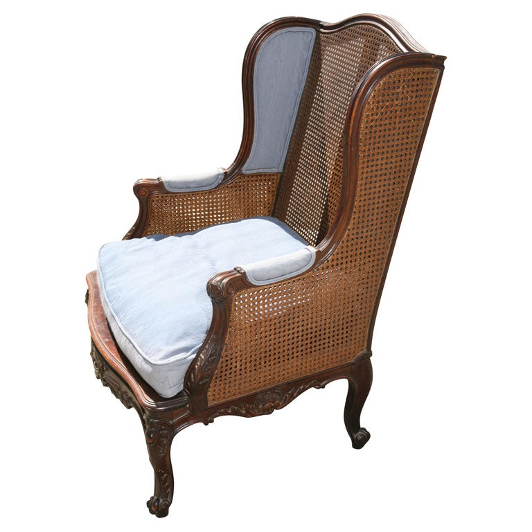 French Caned Wing Chair At 1stdibs