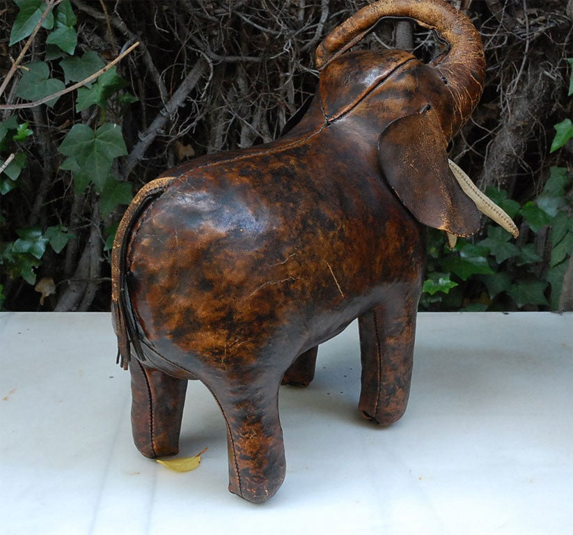 Charming Elephant Leather Foot Stool At 1stdibs