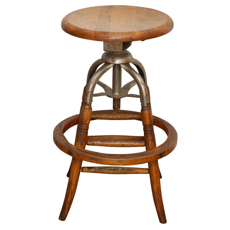 American Adjustable Revolving Stool At 1stdibs