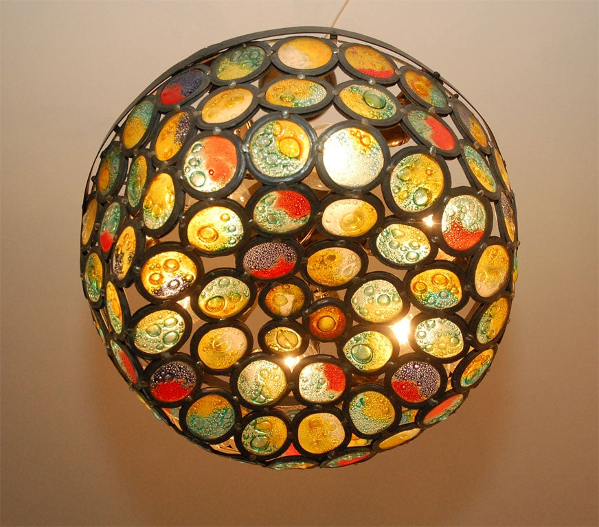 American Artisanal Stained Slag Glass Chandelier