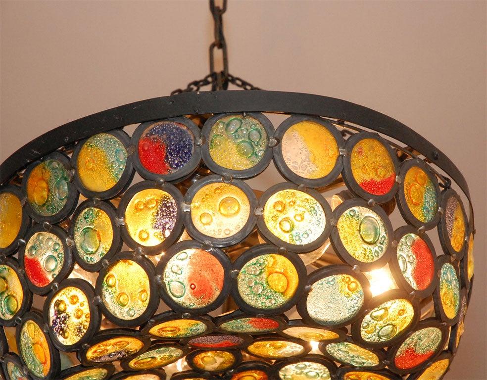 20th Century Artisanal Stained Slag Glass Chandelier