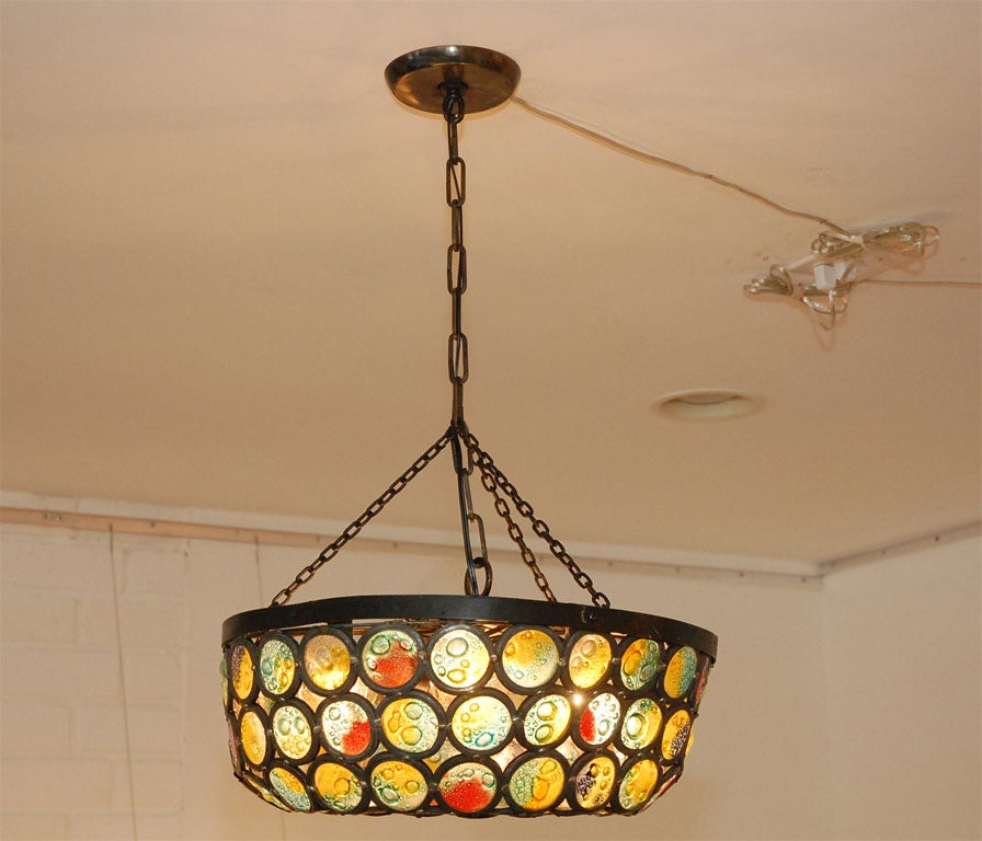 Stained Glass Artisanal Stained Slag Glass Chandelier