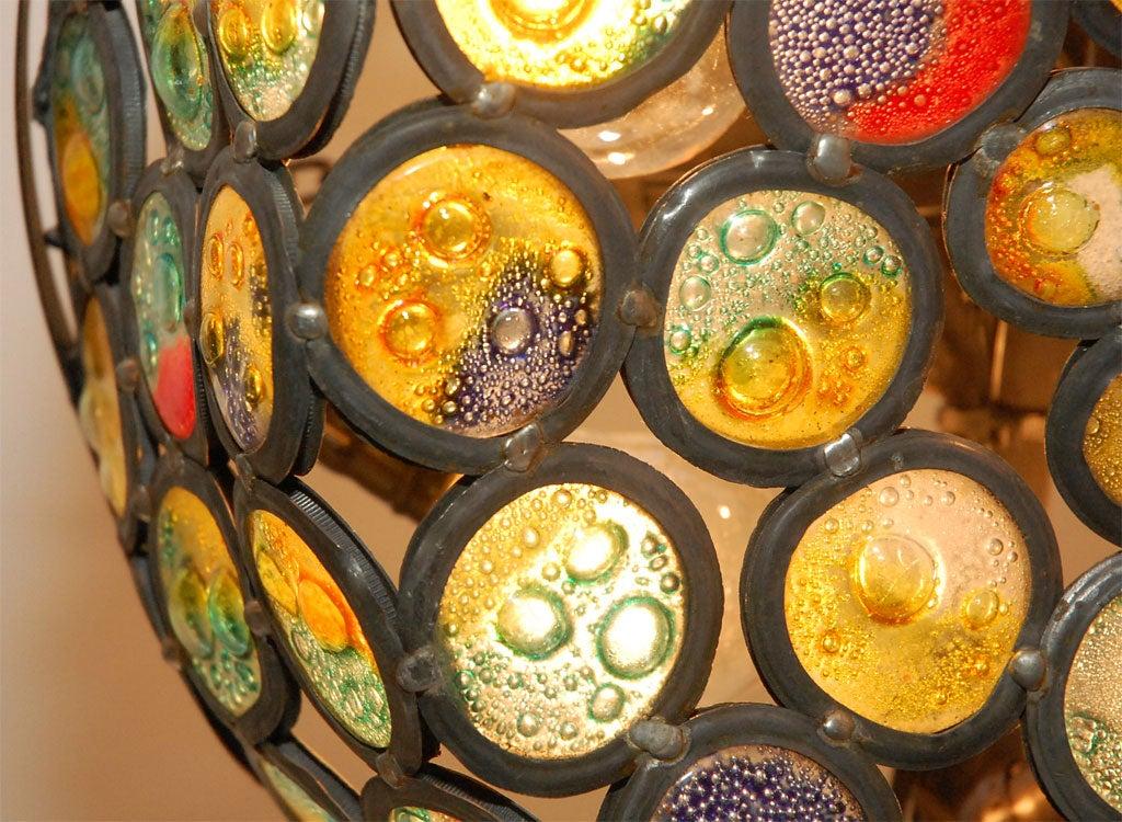 Artisanal Stained Slag Glass Chandelier 2
