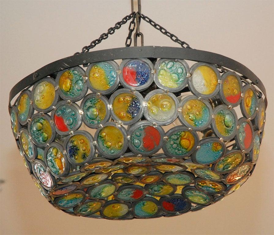 Artisanal Stained Slag Glass Chandelier 3