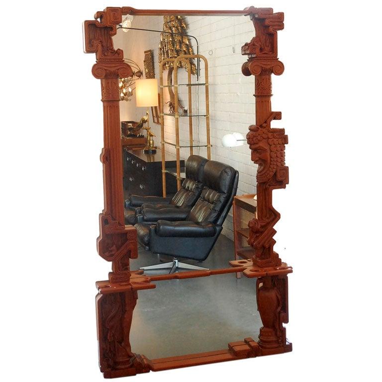 Hand Carved Mahogany Floor Mirror at 1stdibs