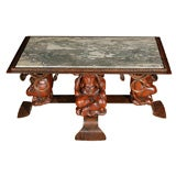 French Coffee Table with Marble Top Attributed to Jean-Maurice Rothschild