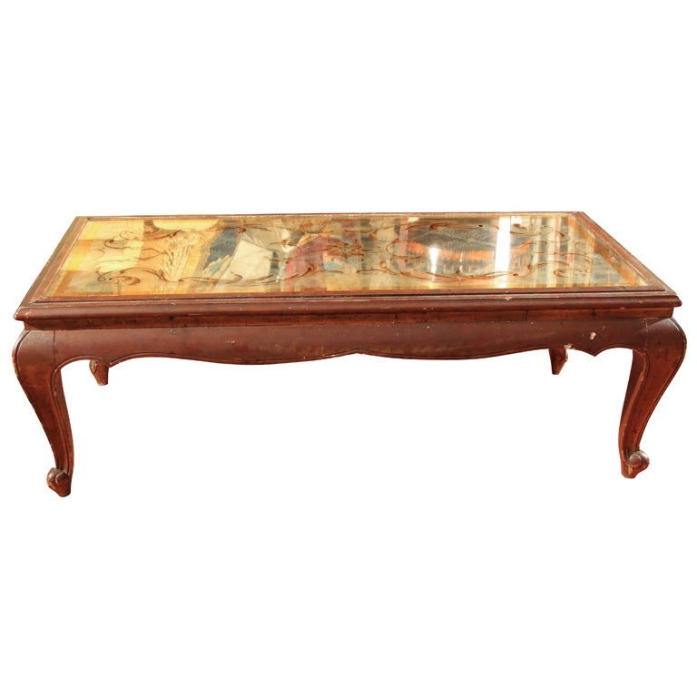 Painted Coffee Table W Mirror Top At 1stdibs