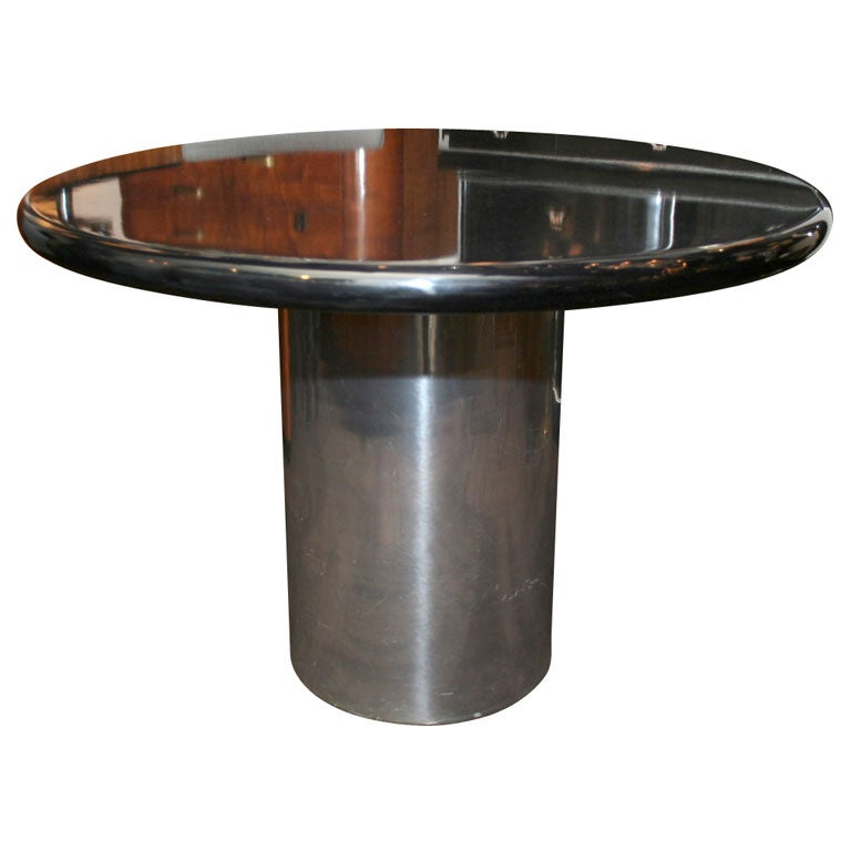 Chrome Cylinder Base Dining Table By Directional At 1stdibs
