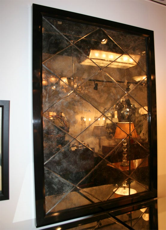Spectacular Hollywood Diamond Panel Smoked Mirror At 1stdibs