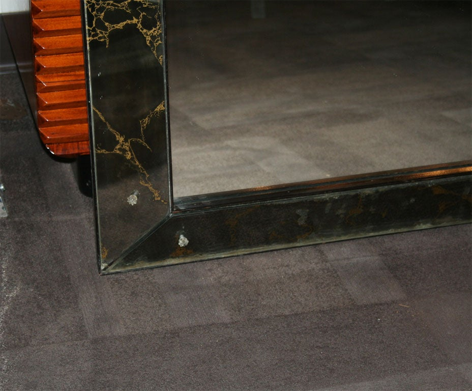 Mirror Has Smoked Mirrored Borders Br With Gold Vein Design And