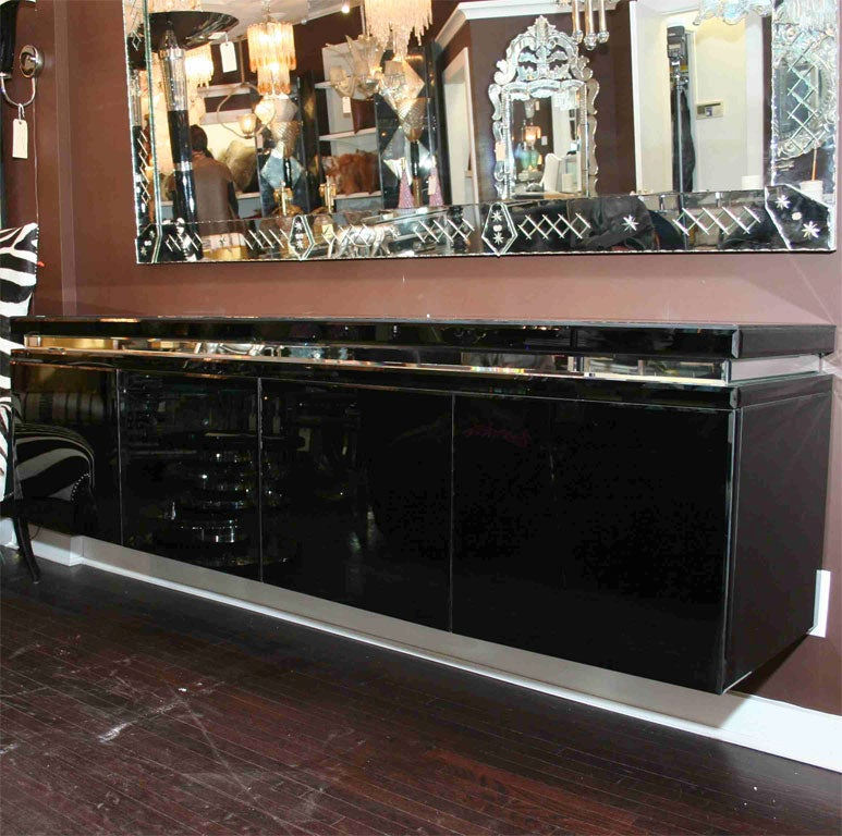 Custom black mirrored credenza