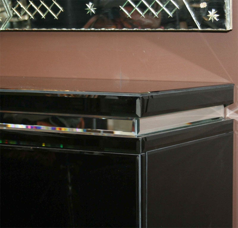 American Custom Black Mirrored Cantalever Credenza For Sale