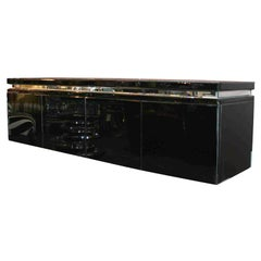 Black Wall Mount Mirrored Credenza