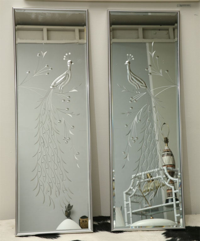 Pair Of 50 S Peacock Etched Mirrors At 1stdibs