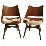 Pair of 50's Walnut and Cowhide Chairs