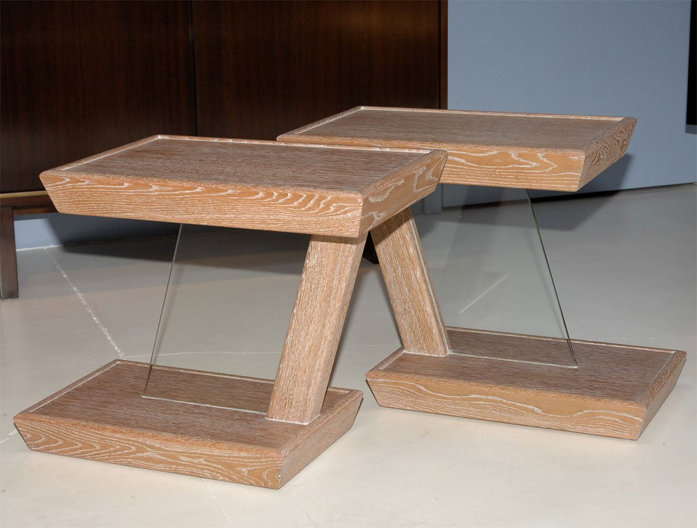 Pickled Oak And Glass End Tables At 1stdibs