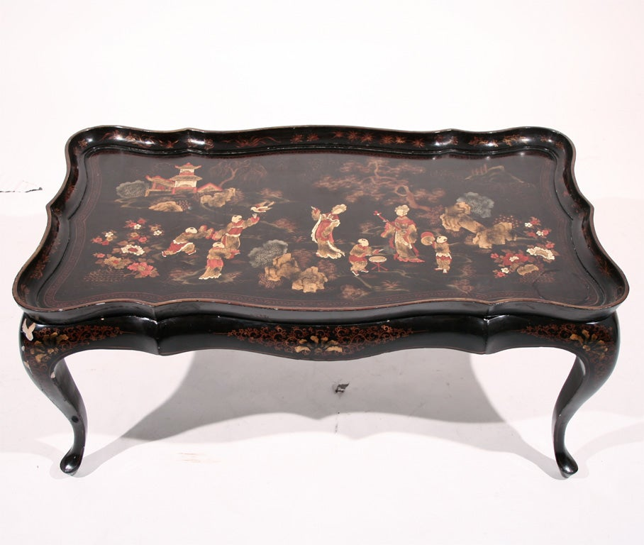 an black and gilt-japanned tray-top coffee table at 1stdibs