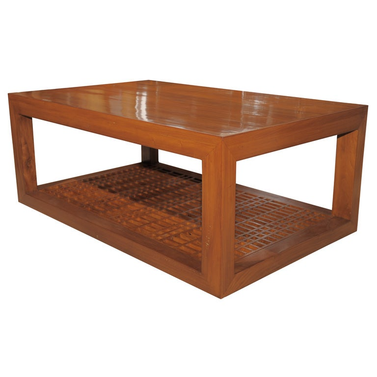 Bamboo Top Coffee Table At 1stdibs