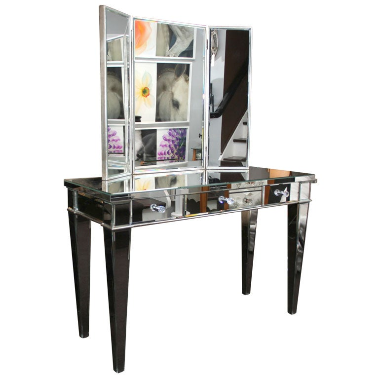 Custom Beveled Mirrored Vanity with Tryptic Mirror