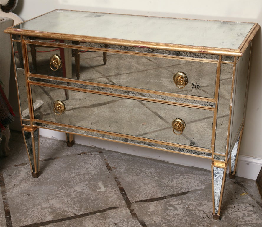 Mirrored And Gold Gilt Two Drawers Chest For Sale At 1stdibs