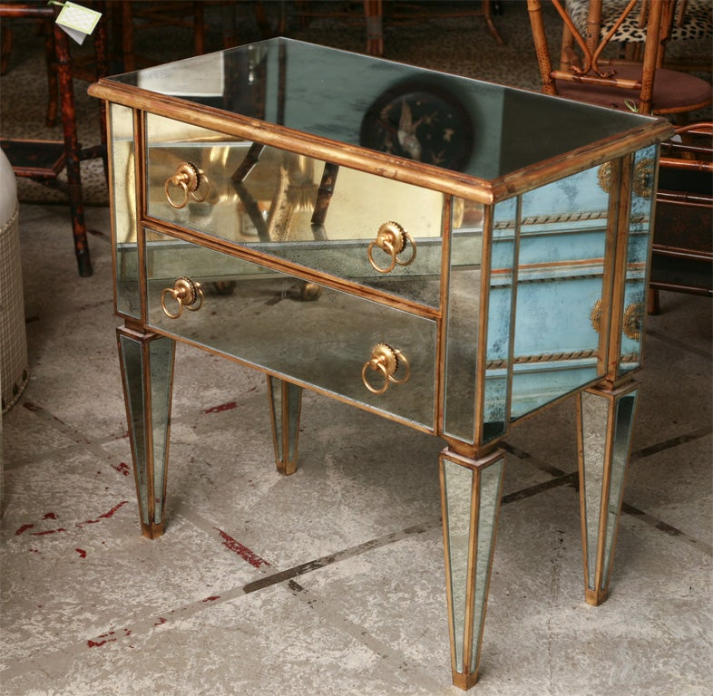 Mirrored Small Chest with Gold Gilt Trim 2