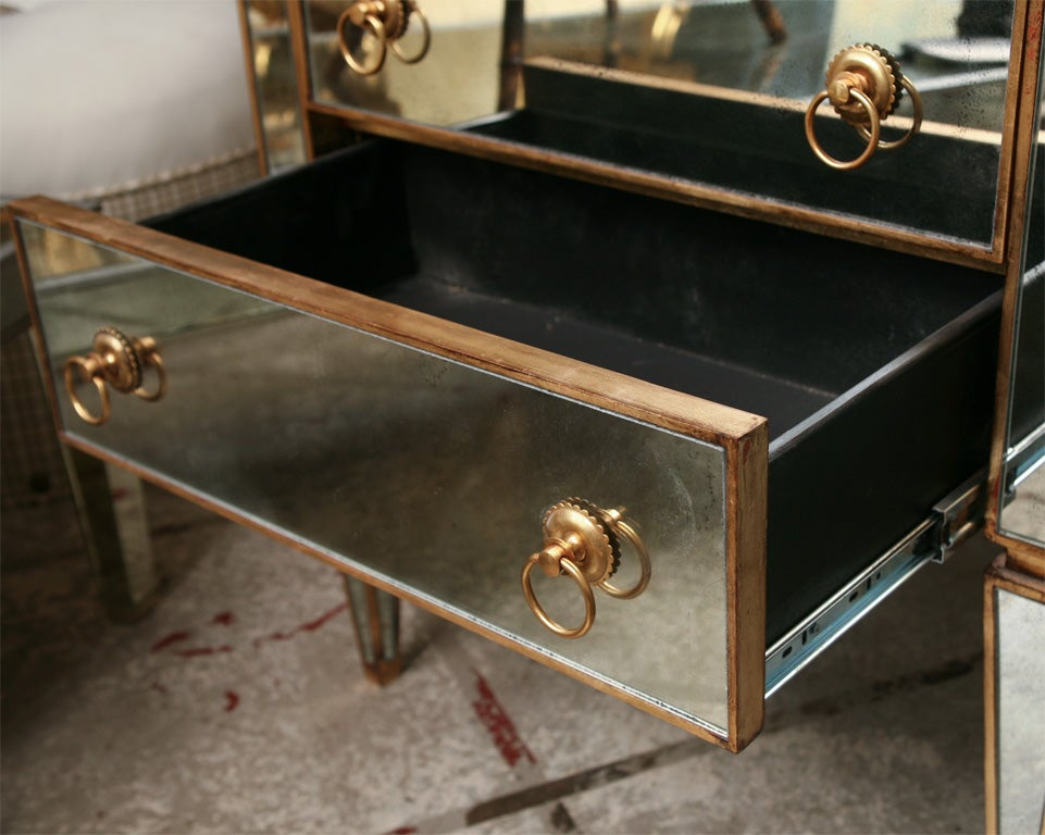 Mirrored Small Chest with Gold Gilt Trim 3