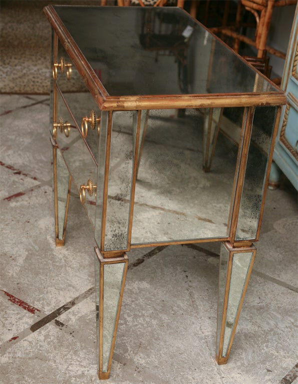 Mirrored Small Chest with Gold Gilt Trim 7