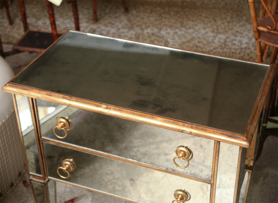 Mirrored Small Chest With Gold Gilt Trim For Sale At 1stdibs