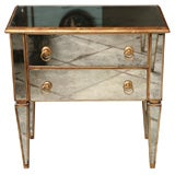 Mirrored Small Chest with Gold Gilt Trim