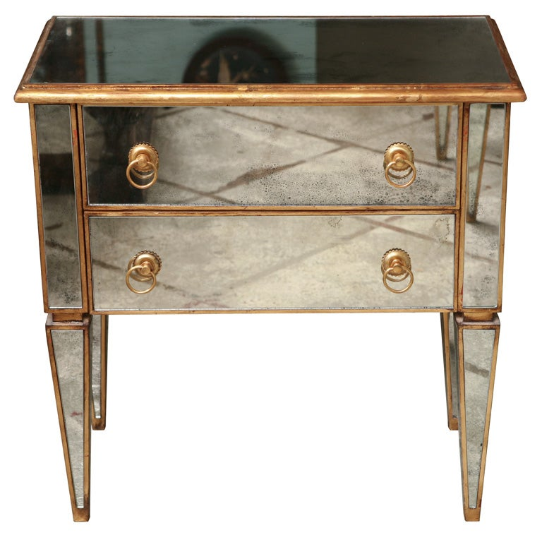 Mirrored Small Chest with Gold Gilt Trim 1