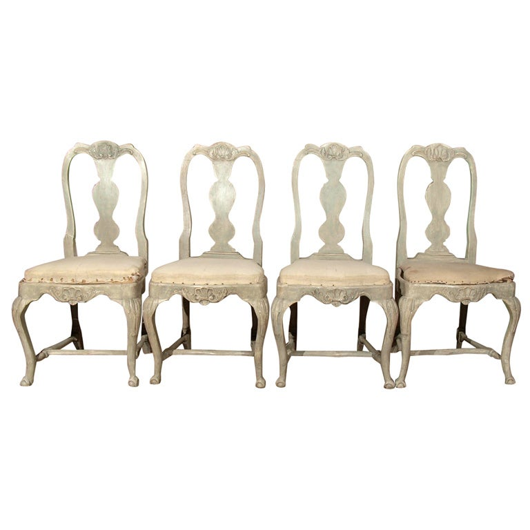 Swedish Rococo Dining Chairs At 1stdibs