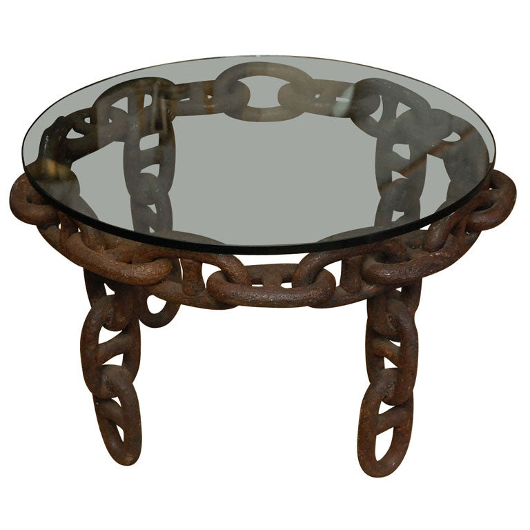 Chain link industrial table at stdibs