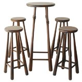 WONDERFUL AND FOLKY BASEBALL BAT BAR STOOLS AND TABLE