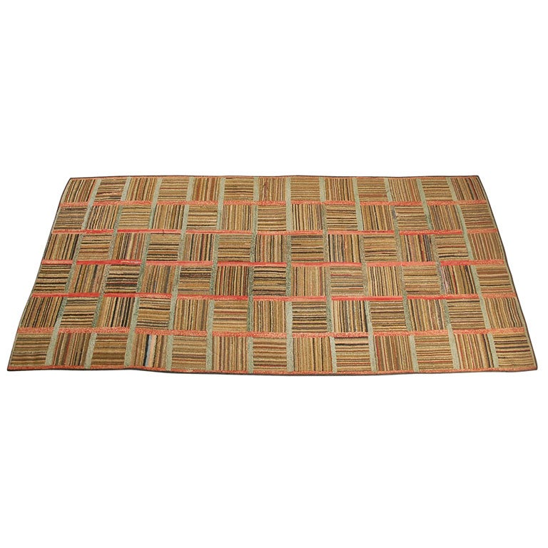 19THC AMERICAN HAND HOOKED LOG CABIN RUG At 1stdibs
