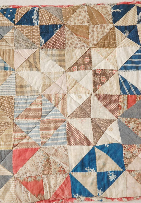 19th Century 19TH C. DOLL QUILT ON A PROFESSIONAL MOUNT