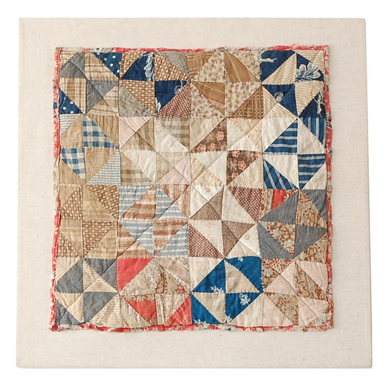 19TH C. DOLL QUILT ON A PROFESSIONAL MOUNT