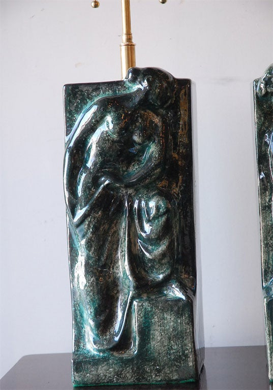 Pair of Figural Ceramic Table Lamps In Excellent Condition For Sale In Los Angeles, CA