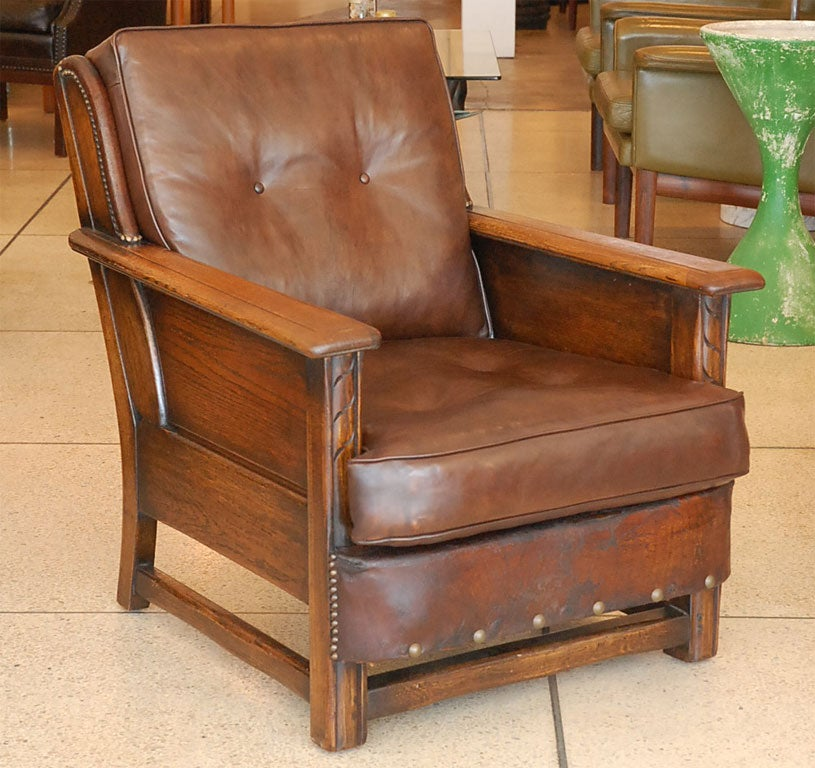 Pair of wood and leather rustic chairs at 1stdibs